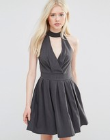 Wal G Skater Dress With Neck Detail