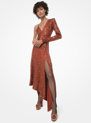 Michael Kors Sequined Stretch Matte-Jersey Asymmetric Dress