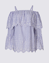 Per Una Cotton Rich Striped Bardot Blouse