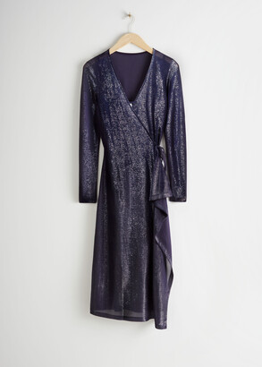 And other stories Metallic Midi Wrap Dress