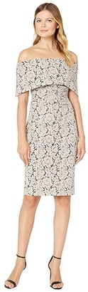 Vince Camuto Off-the-Shoulder Midi Dress with Collar and Side Tucks (Taupe) Women's Dress