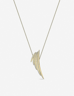 Shaun Leane Quill yellow gold-plated vermeil silver drop necklace