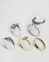 Asos Pack of 5 Crescent Moon Ring Pack