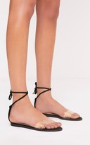 PrettyLittleThing Isha Black Clear Strap Tie Ankle Sandals