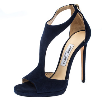Jimmy Choo Blue Suede Lana T Strap Open Toe Sandals Size 38