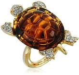 Kenneth Jay Lane Gold, Crystal and Tortoise Turtle Ring, Size 5-7
