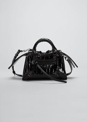 Balenciaga Neo Class City Mini Croc-Embossed Satchel Bag