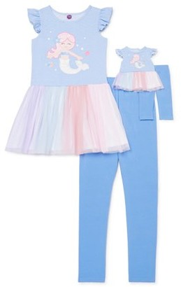 Dollie & Me Girls 4-12 Flutter Sleeve Mermaid Applique Tunic and Legging, 2-Piece Outfit Set With Matching Doll Set