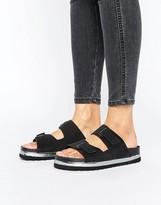 Vero Moda Leather Flatform Buckle Slide Sandal