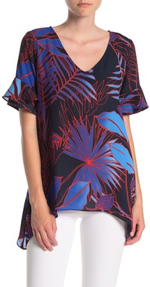 ECI Flutter Sleeve Tropical Blouse