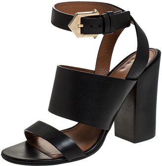 Givenchy Black Leather Ankle Strap Block Heel Sandals Size 39.5