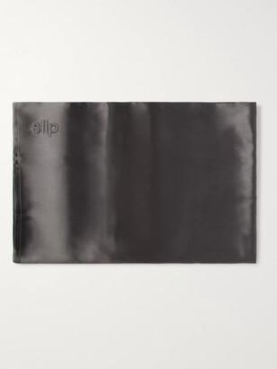 Slip Embroidered Mulberry Slipsilk Queen Pillowcase - Gray