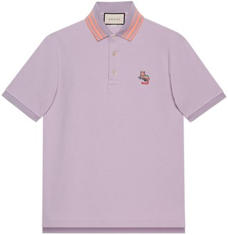 Gucci Cotton piquet polo with cat patch