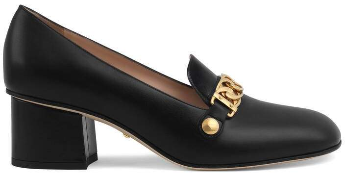 Gucci Sylvie leather mid-heel pump