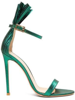 Gianvito Rossi Belvedere 105 Plisse-cuff Lame Stiletto Sandals - Womens - Green