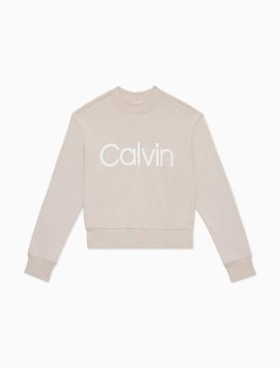 Calvin Klein Performance Logo Mock Neck Pullover Sweatshirt