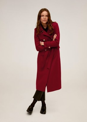 MANGO Belted wool coat red - XS - Women