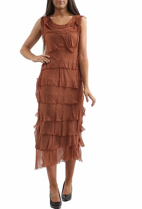 N A COLLECTION New Ladies Italian Lagenlook Flap Over Shredded Layer Look Plain Pleated Layer Dress (One Size: Regular