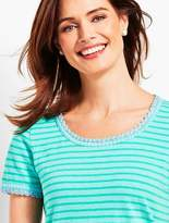 Talbots Crochet-Trim Scoop-Neck Tee-Stripe