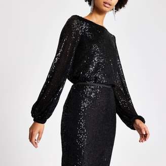River Island Womens Black sequin long sheer balloon sleeve top