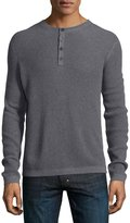Neiman Marcus Waffle-Knit Long-Sleeve Henley Shirt, Gray