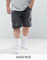 Asos Plus Slim Denim Shorts In Washed Black With Extreme Rips