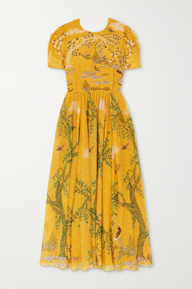 Saloni Eliza Ruffled Printed Silk Midi Dress - Yellow