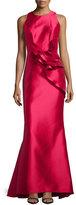 Carmen Marc Valvo Side-Peplum Sleeveless Gown, Lipstick