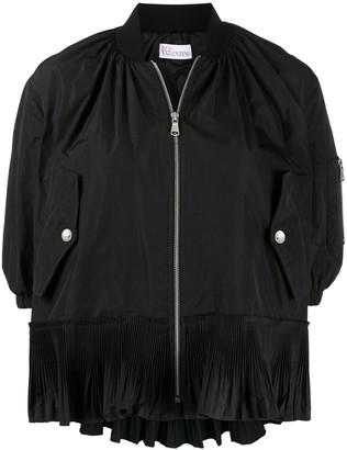 RED Valentino pleated flounce bomber jacket