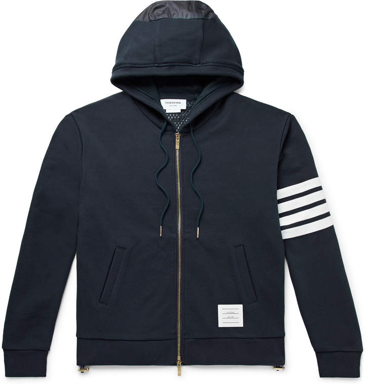 Thom Browne Panelled Striped Loopback Cotton-Jersey and Ripstop Zip-Up Hoodie - Men - Blue