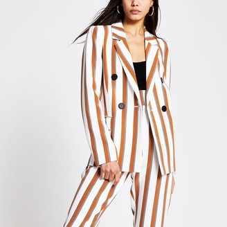 River Island Womens Brown stripe double breasted blazer