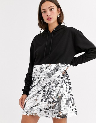 Daisy Street oversized hoodie dress in sequin-Black