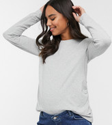 Asos DESIGN Maternity ultimate organic cotton long sleeve crew neck t-shirt in gray marl