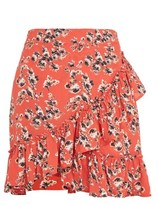 Topshop TALL Red Floral Ruffle Skirt