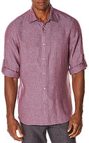 Perry Ellis Roll-Sleeve Long-Sleeve Linen Chambray Solid Woven Shirt