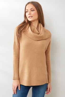 French Connection Camel Flossy Cowl Neck Sweater Camel XS