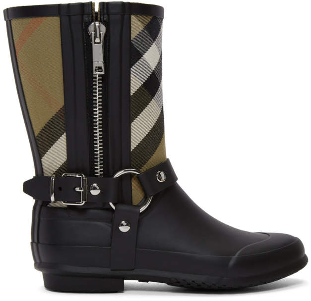 Burberry Black and Beige Check Biker Rain Boots