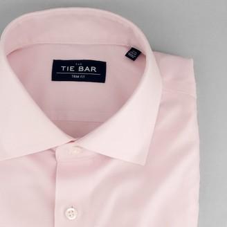 Tie Bar Textured Solid Light Pink Non-Iron Dress Shirt