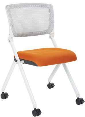 Space Seating? Folding Chair With Screen Back And Orange Fabric Mesh Seat in White Finish Frame