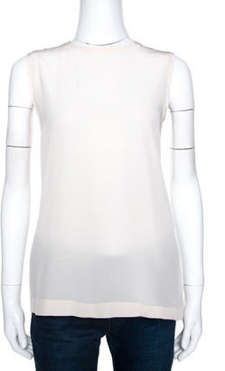 Dolce & Gabbana Cream Silk Sleeveless Top M