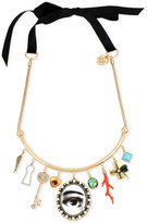 Betsey Johnson Gold-Tone Multi-Charm Black Ribbon Choker Necklace