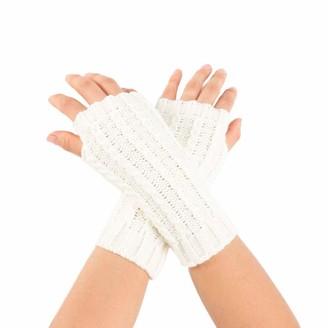 Toamen Scarf Toamen Womens Knit Thermal Winter Glove Magic Stretch Wrist Arm Warmer Knitted Short Fingerless Gloves(White)
