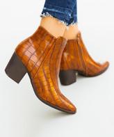 Mata Shoes Women's Casual boots TAN - Tan Croc-Embossed Celeste Bootie - Women