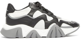 Versace Squalo Leather And Mesh Trainers - Mens - White Black