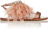 Miu Miu Women's Feather- & Crystal-Embellished Satin Sandals