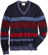 Brooks Brothers Merino Striped V-Neck Sweater