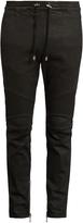 Balmain Biker slim-leg wax-effect cotton-blend track pants
