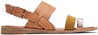 Toms Honey Amber Gold Leather Suede Women's Freya Sandals