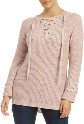 Dex Raglan-Sleeve Lace-Up Sweater