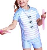 Perfashion Toddler Girl's Sun Protection 2 Piece Stripe Pattern Swim Set Blue 6-7 Years
